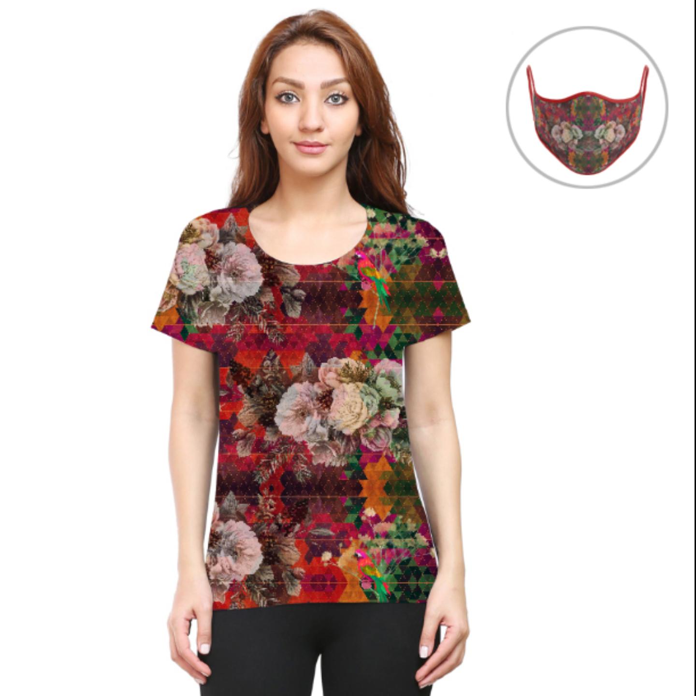 Women Multicoloured Floral T-Shirt Mask Combo