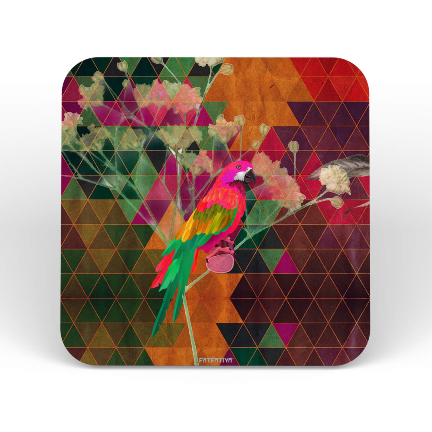 The Parrot Designer Printed MDF Coaster Set of Six