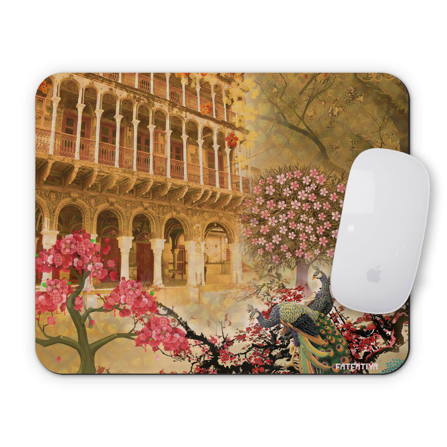 Cool Peacock and Fort Themed Mouse Pad