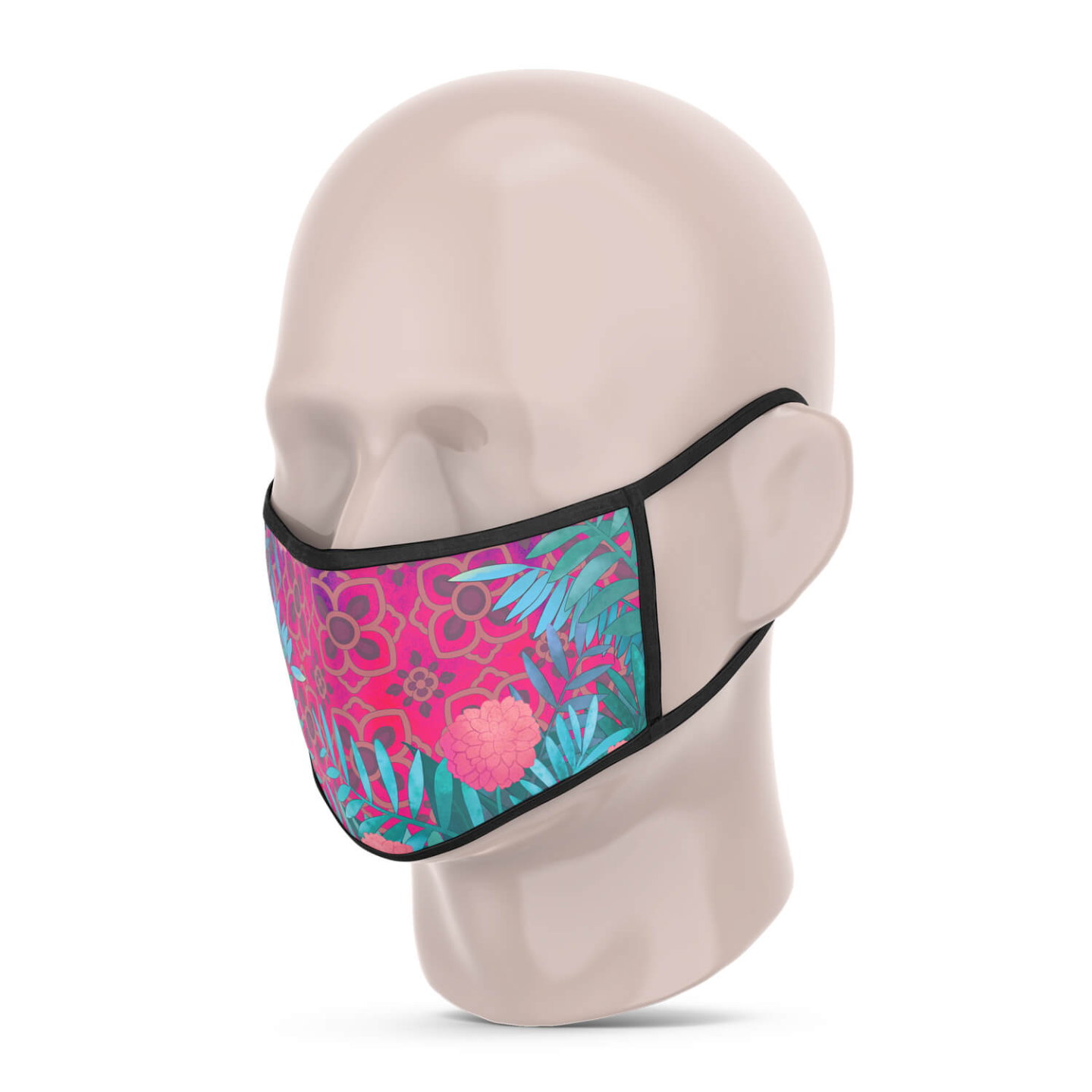 Pink and Blue Jungle Reusable Printed Face Mask