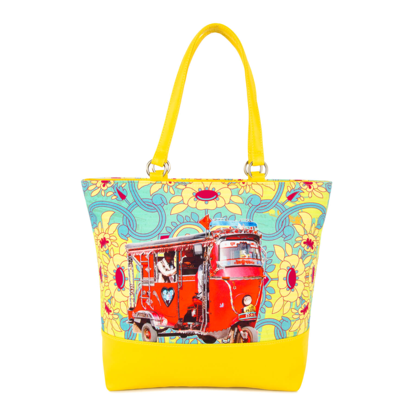 Red Auto Canvas and Faux Leather Women Tote Bag