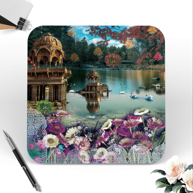 Traditional Rajasthani Lake Scene Table Coaster Set of Six