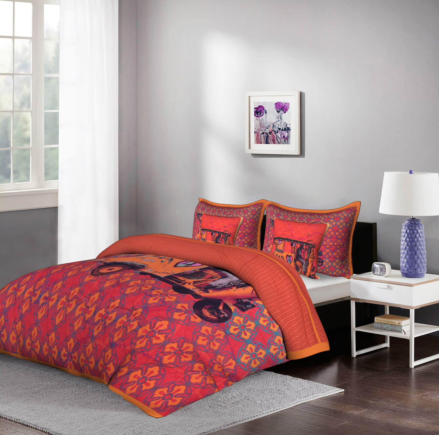 Orange Auto Rickshaw 5 Piece  Piece King Size Cotton Quilted Bedspread