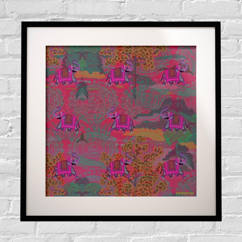 Rajasthani Haathi Framed Art Print