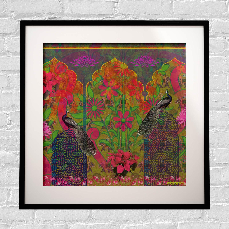 Peacock in Castle Framed Art Print