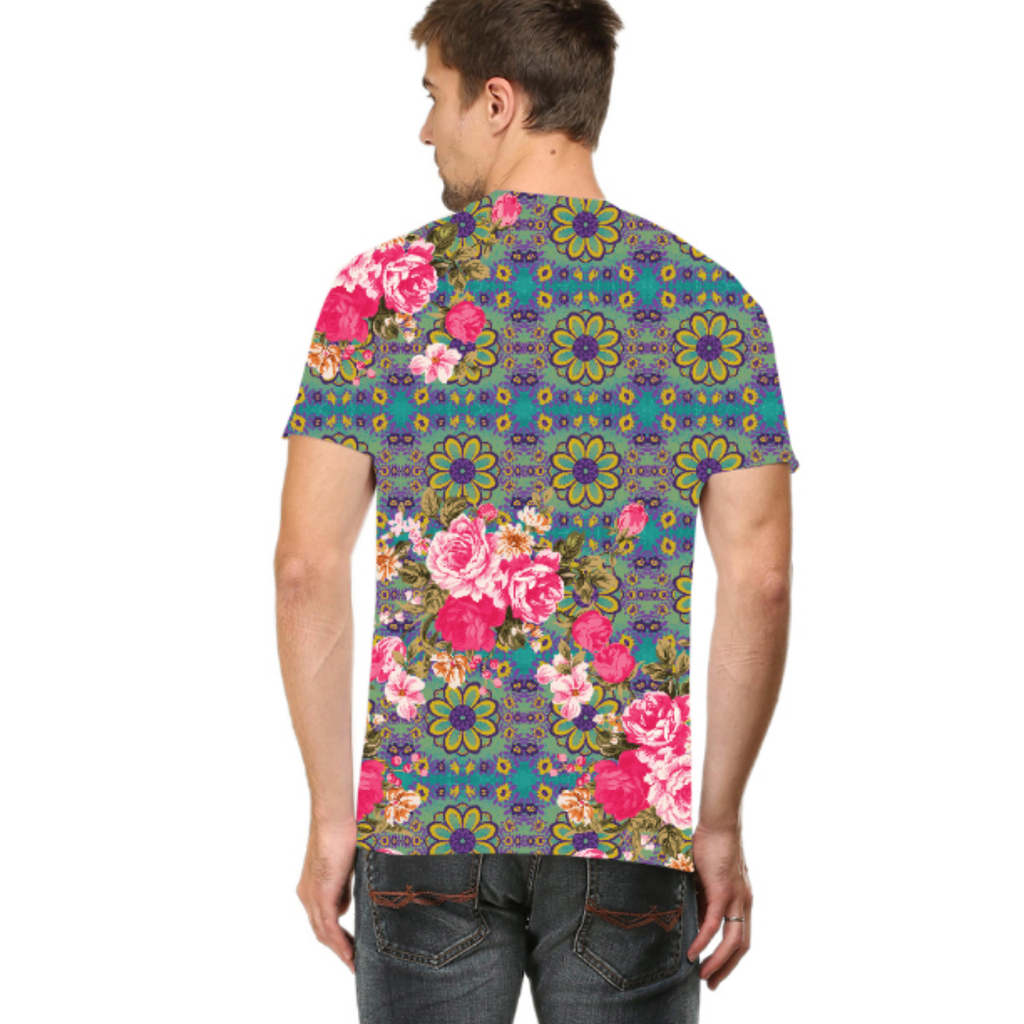 Men Cool Blue and Pink Flowery Round Neck T-Shirt