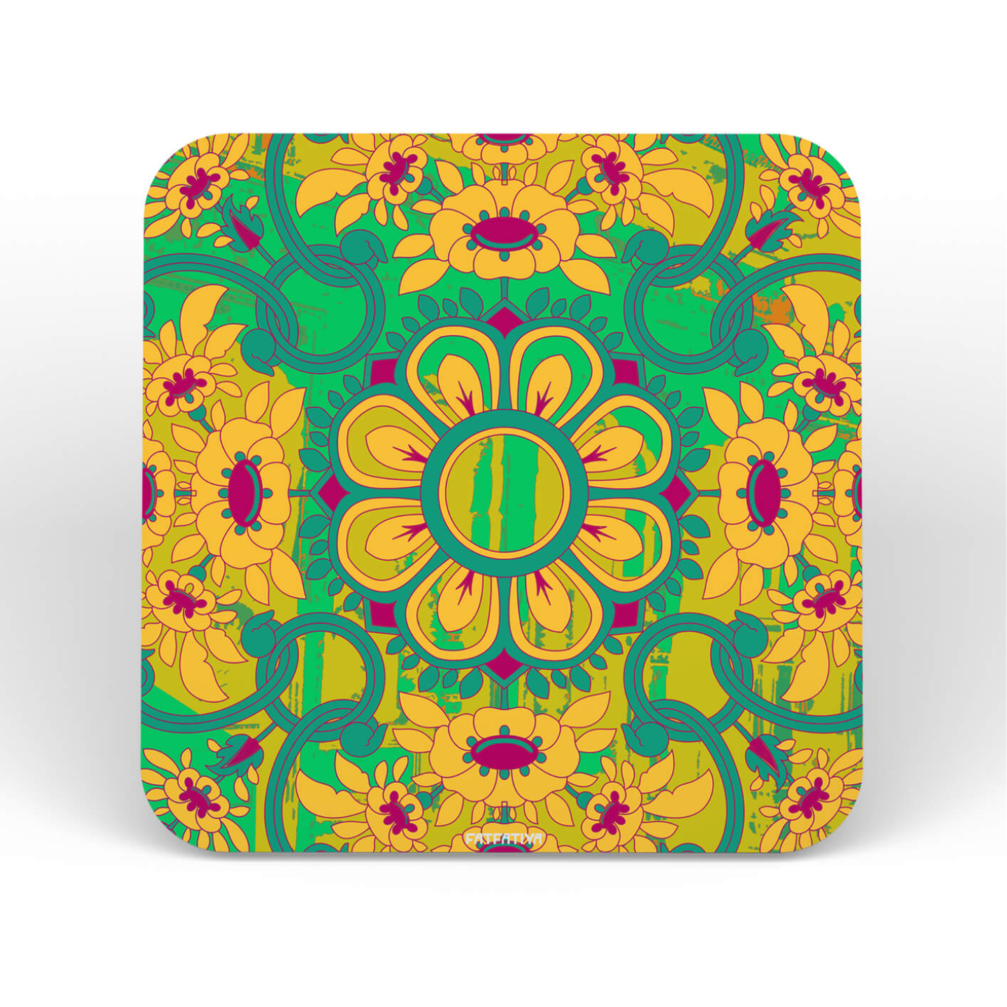 Gorgeous Flower Motif Coaster for Dining Office Desk Set of Six