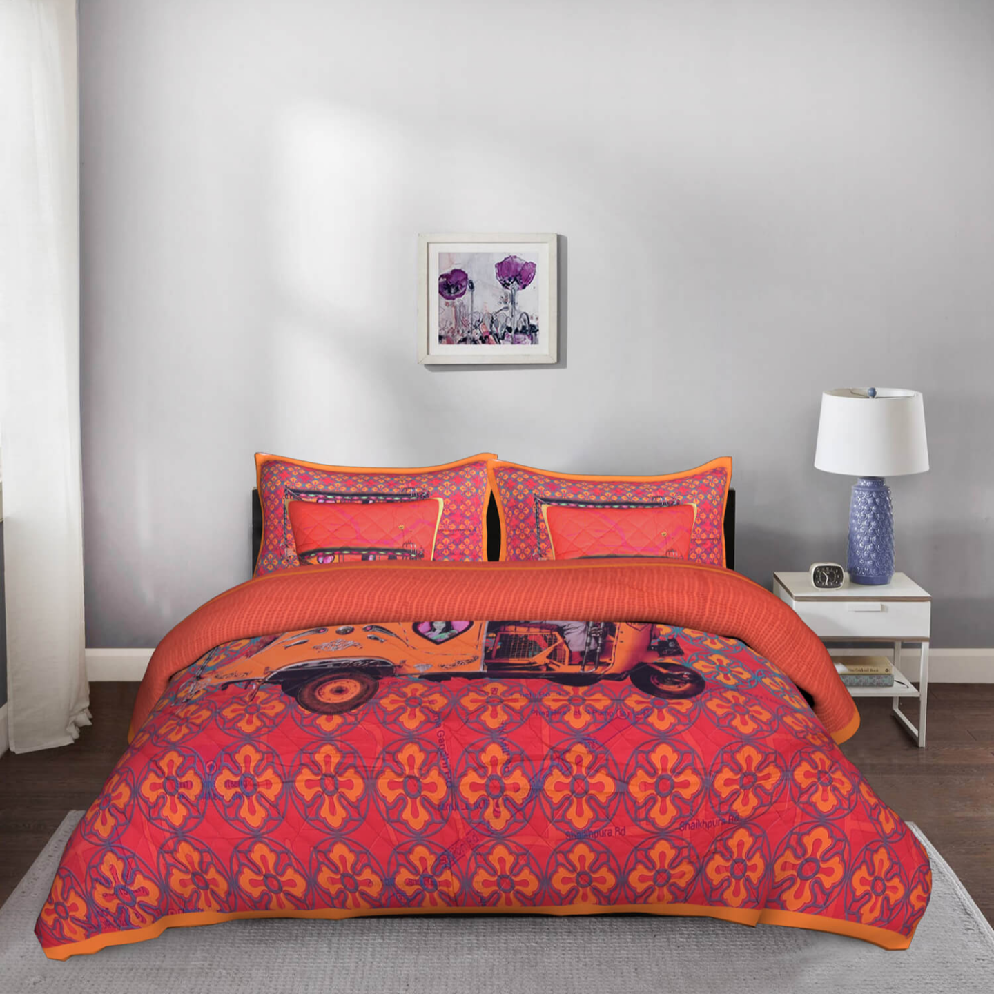 Orange Auto Rickshaw King Size Cotton Quilted Bedspread