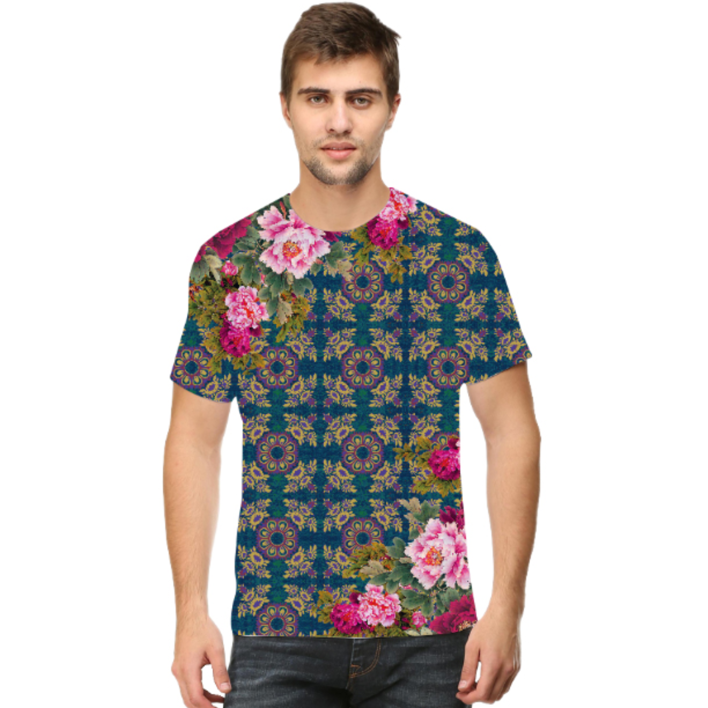 Men Geometric Design Floral Round Neck T-Shirt