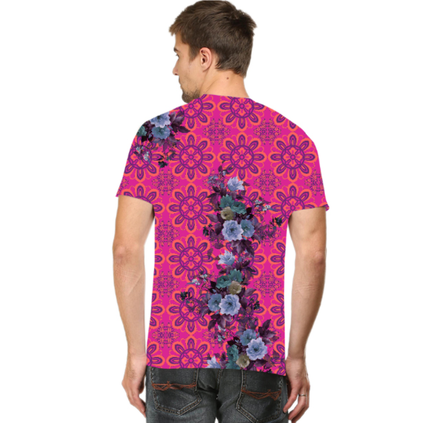 Men Pink and Blue Floral T-Shirt Mask Combo