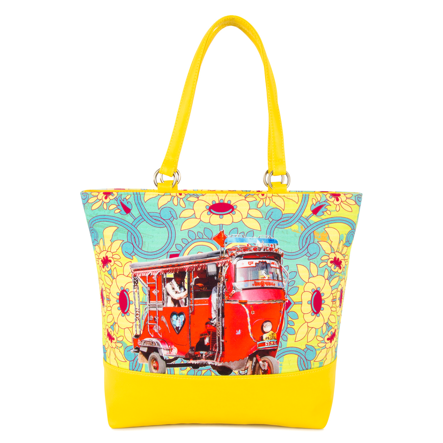 Red Taxi Canvas and Faux Leather Tote Bag