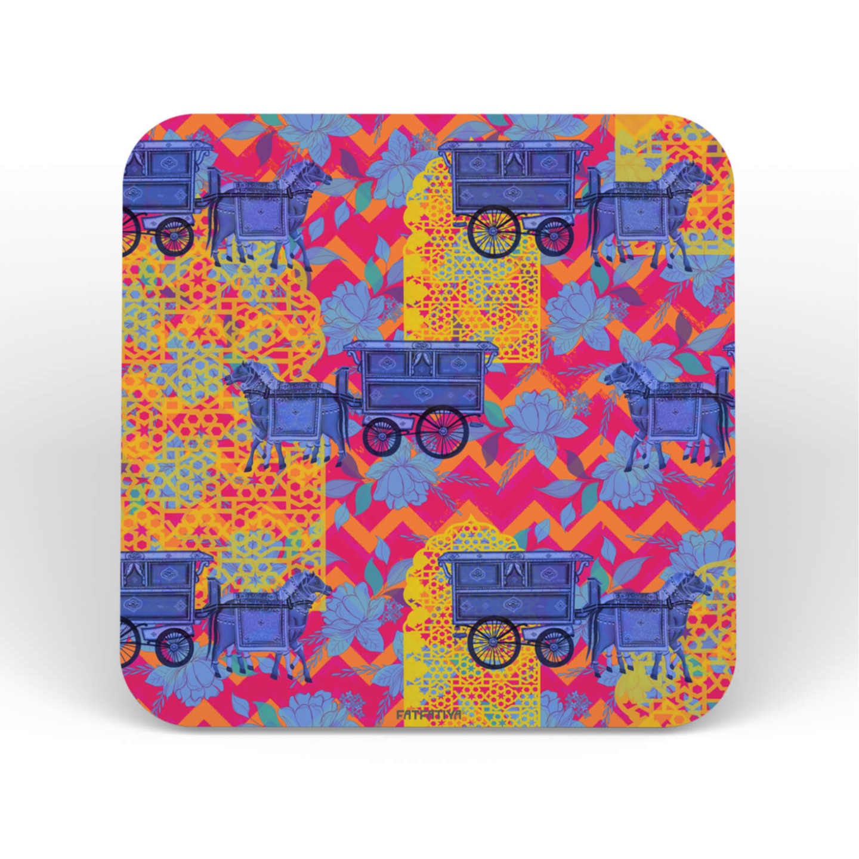Blue Horse Cart Printed Coaster Set of 6 Pcs