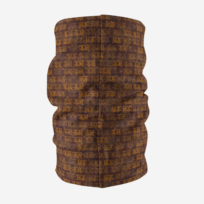 Brown Ancient Flower Themed Unisex Bandana MaskNeck Gaiter