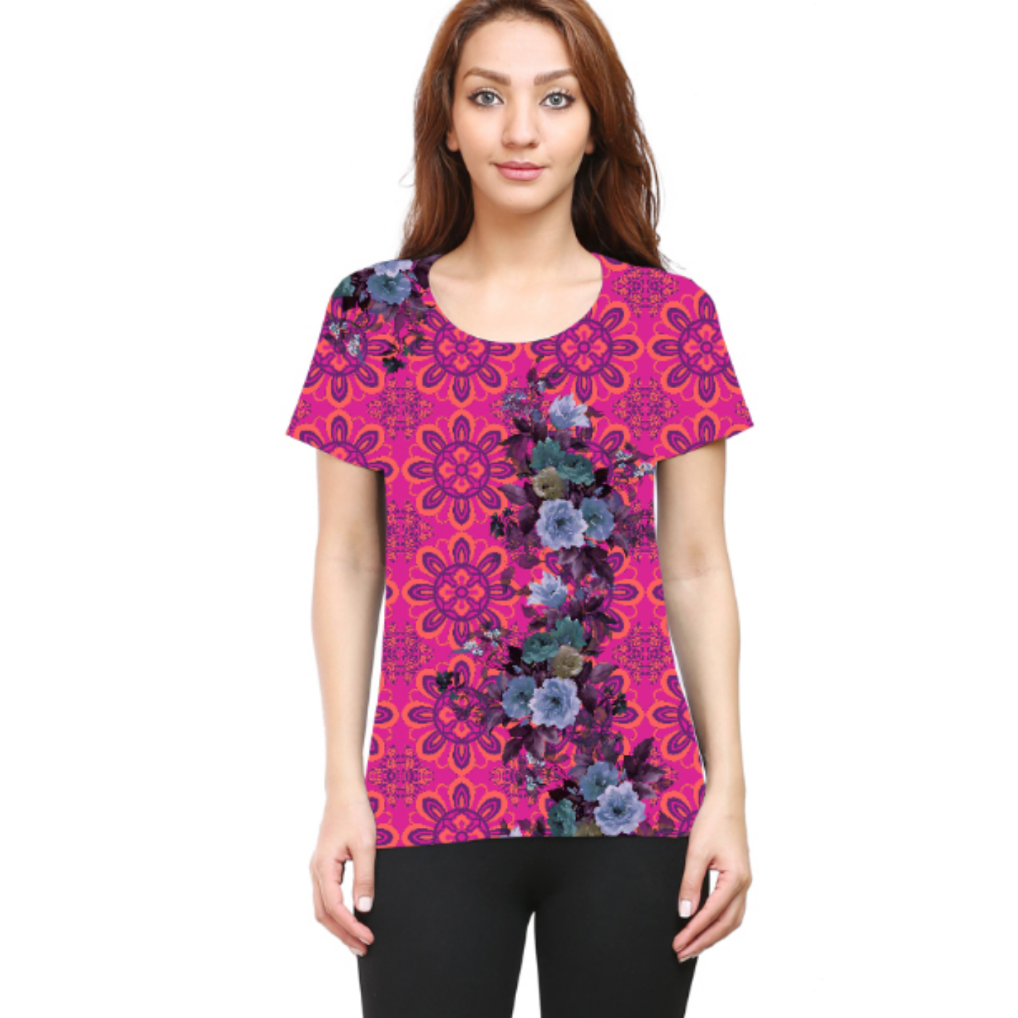 Women Pink and Blue Floral Round Neck T-Shirt