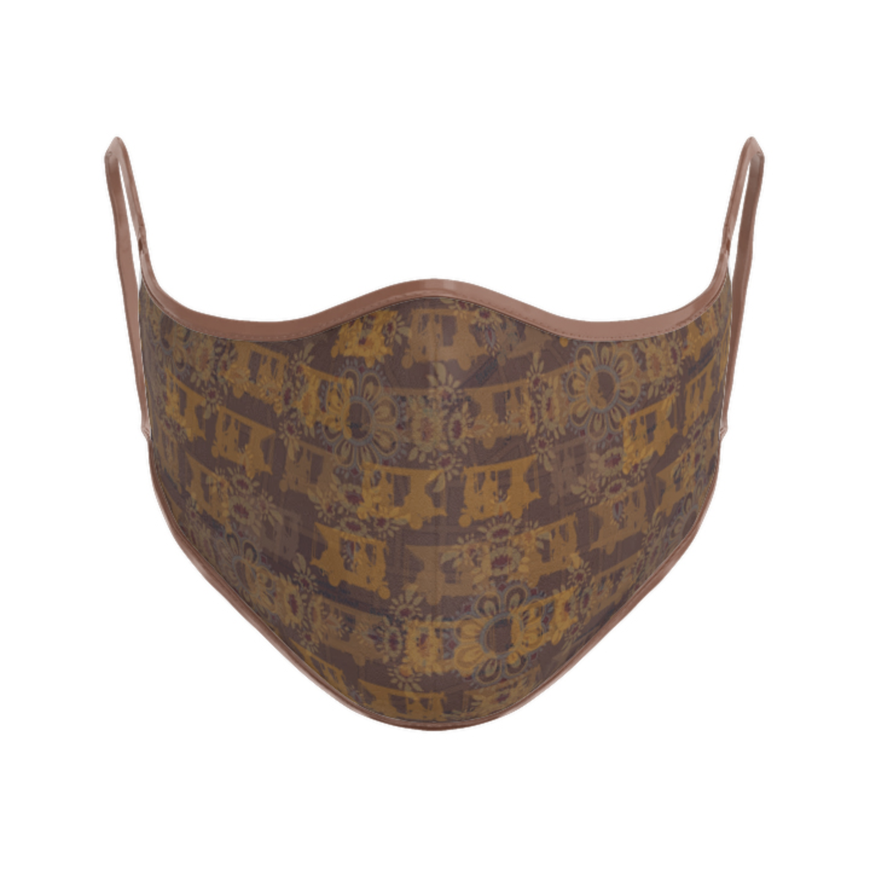 Women Brown Ancient Flower T-Shirt Mask