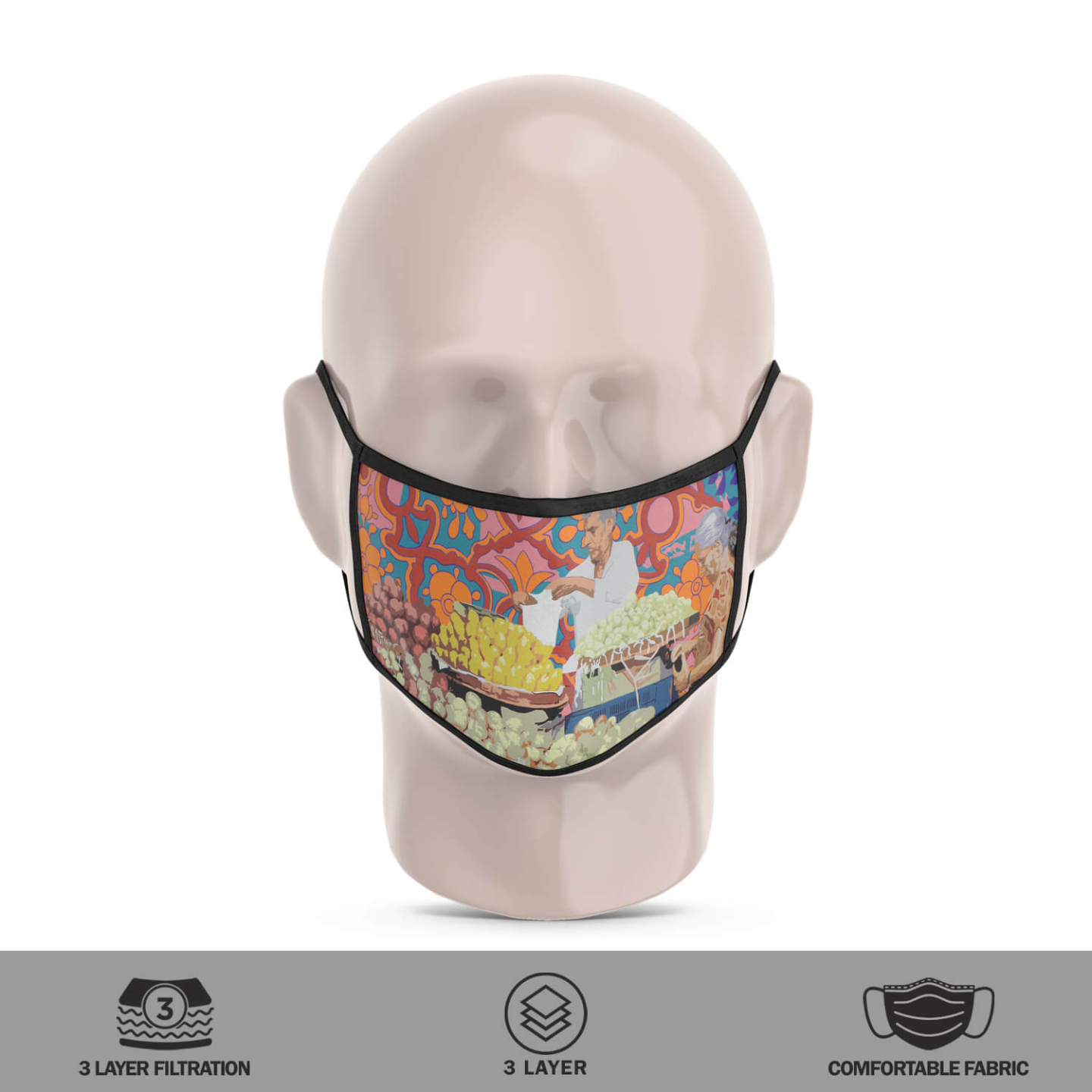 Fruit Vendor 3 Layer Reusable Face Mask