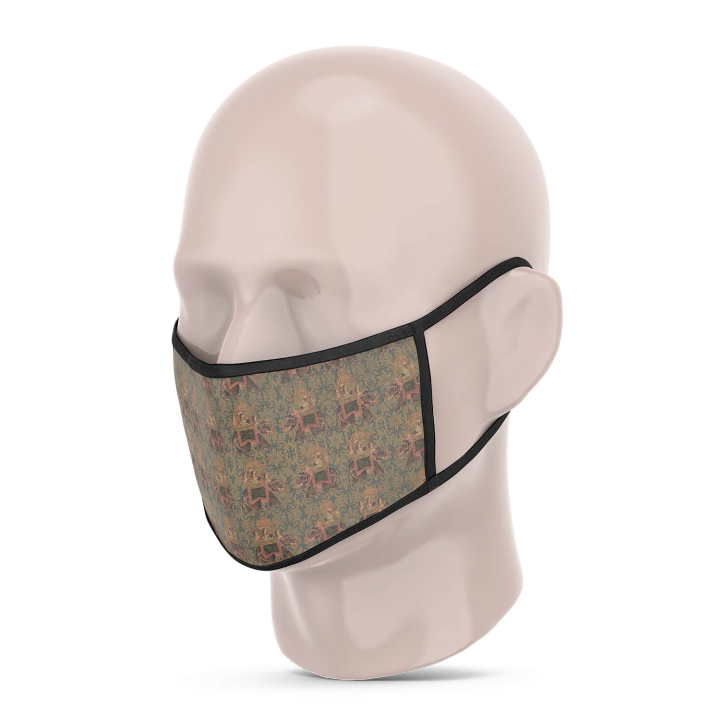Brown Multicoloured Reusable Printed Face Mask