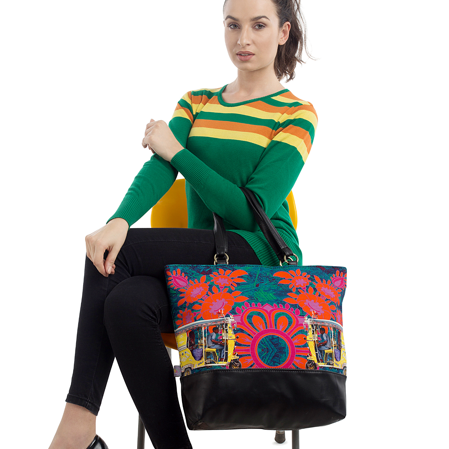 Two Yellow Taxis Canvas and PU Tote Bag
