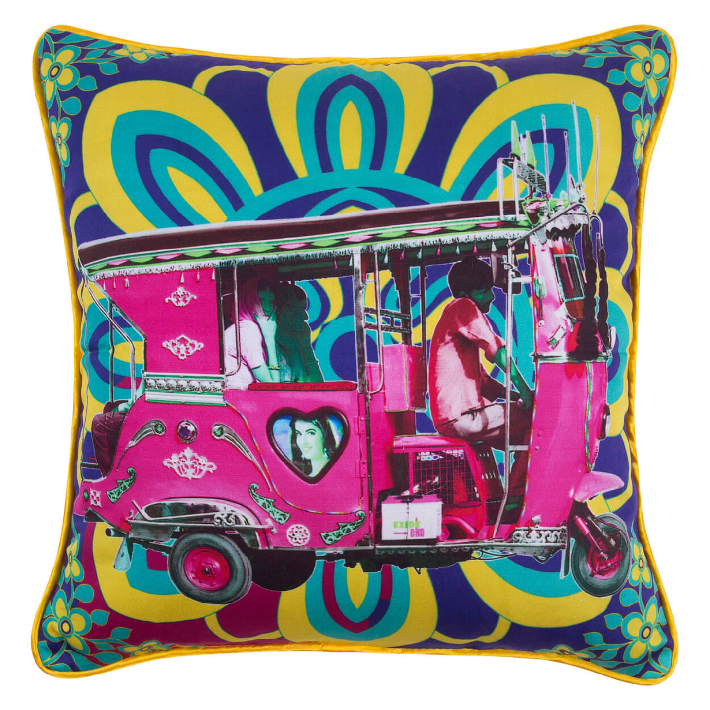 Gulabi Auto Rickshaw Glaze Cotton Cushion Cover 16x16 Inches