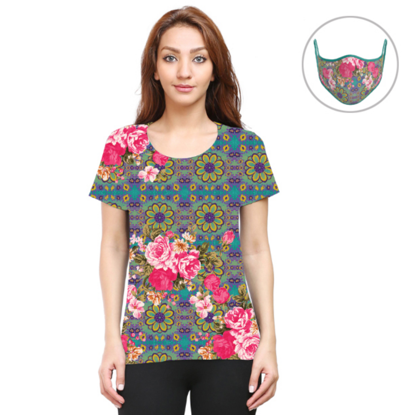 Women Cool Blue and Pink Flowery T-Shirt Mask Combo