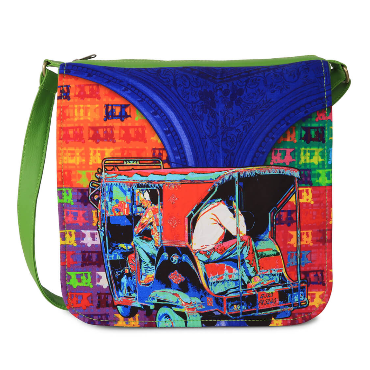Hip Auto Rickshaw Canvas PU SlingCrossbody Bag