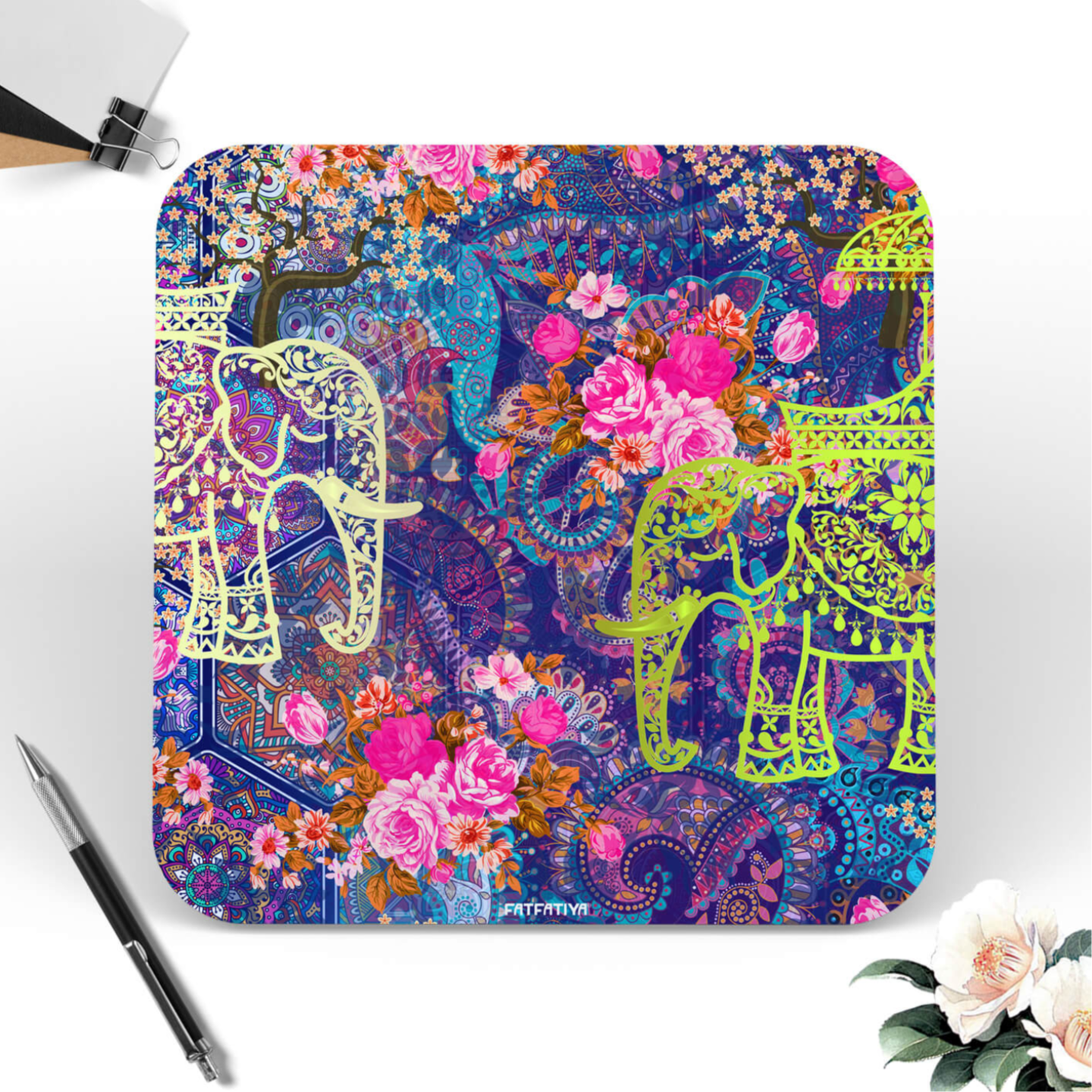 Two Decorated Elephant Designer Printed Coasters Set of 6 PCS