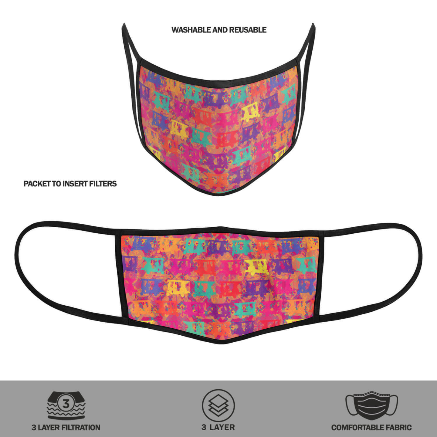 Pop Taxis Reusable Printed Face Mask