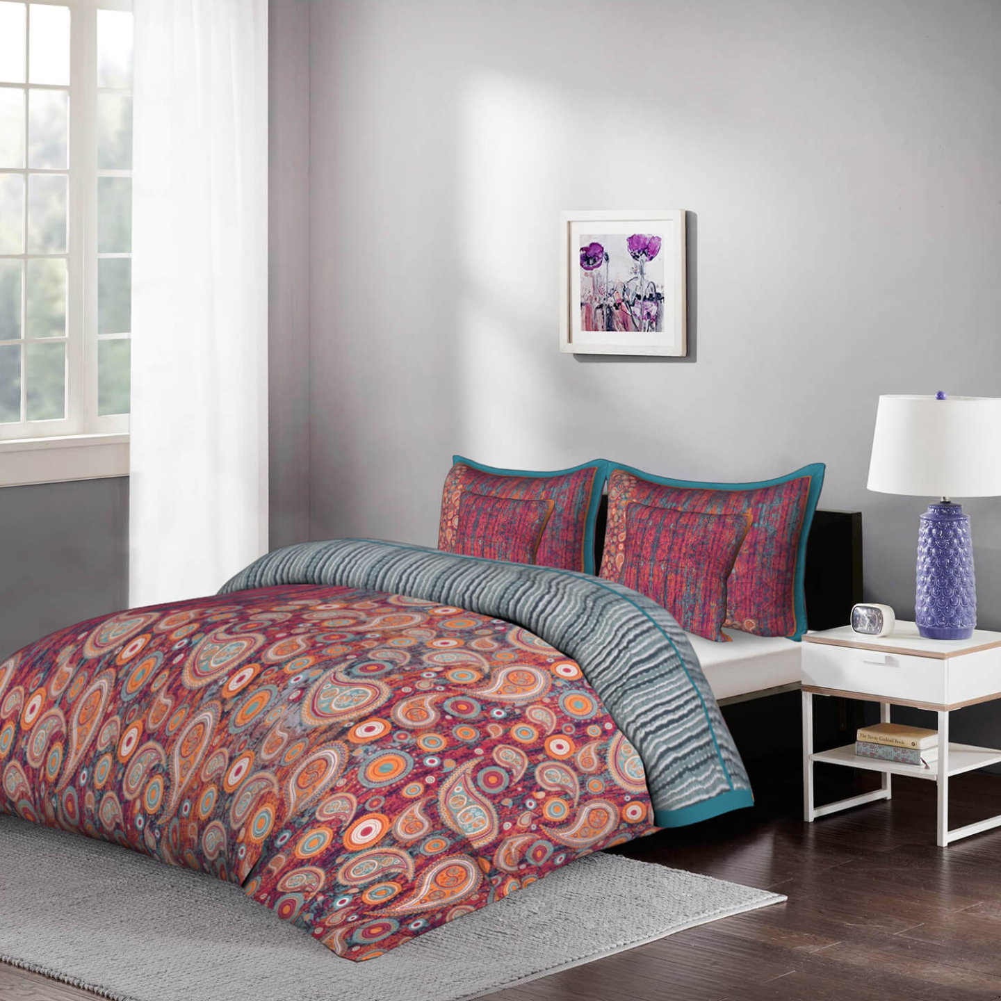 Colour Crush  5 Piece King Size Cotton Quilted Bedspread