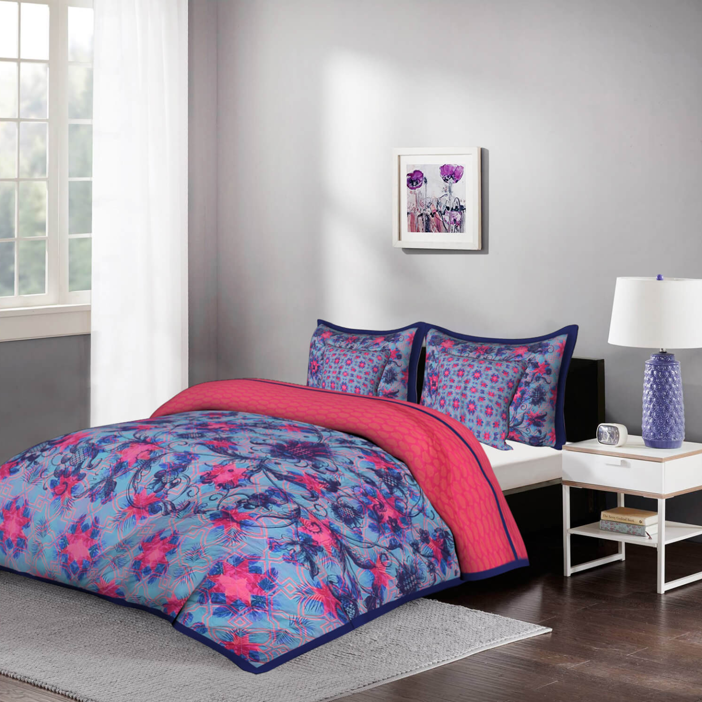 Psychedelic Abstract 5 Piece King Size Cotton Quilted Bedspread