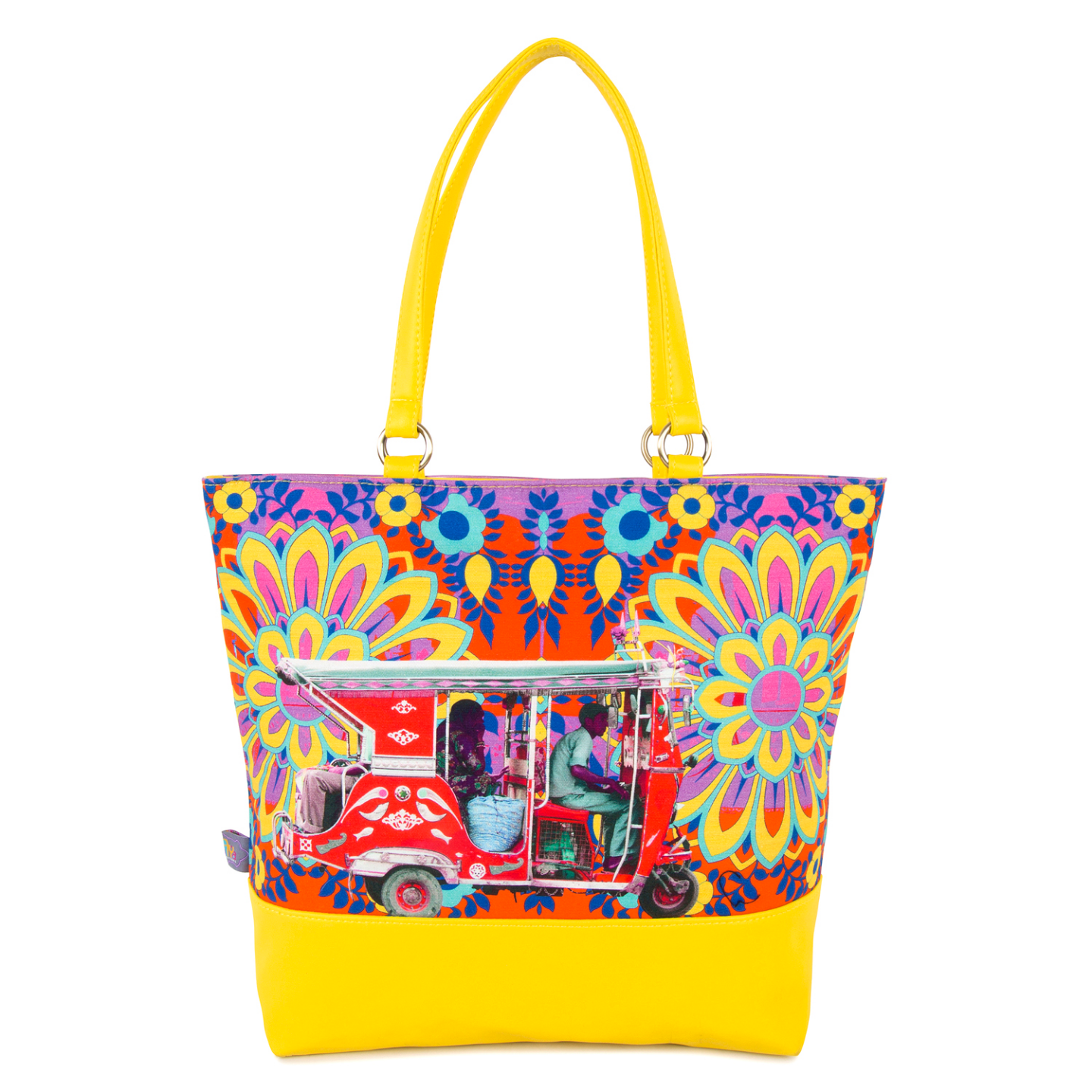 Crimson Taxi Canvas and PU Tote Bag