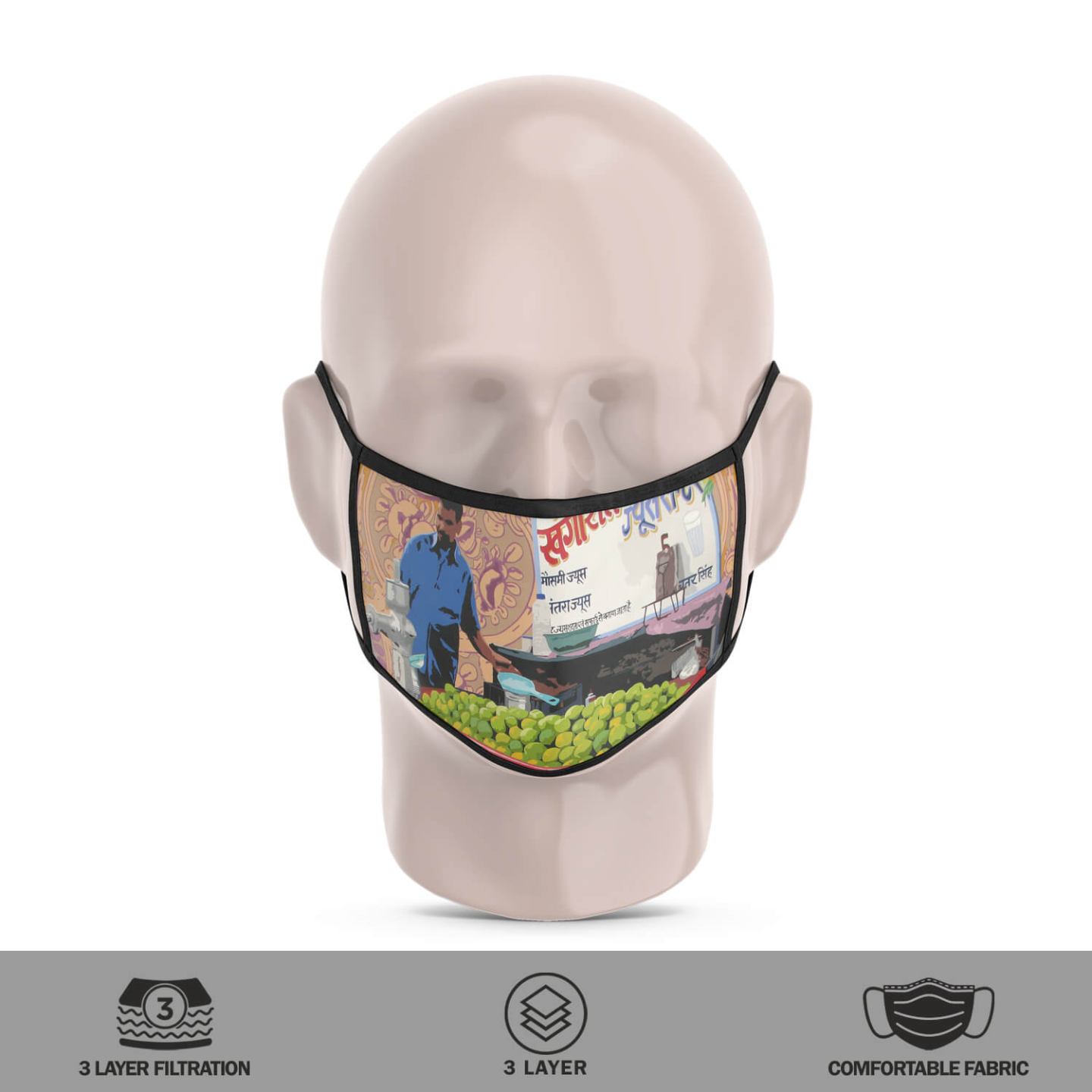 Juice Seller 3 Layer Reusable Face Mask