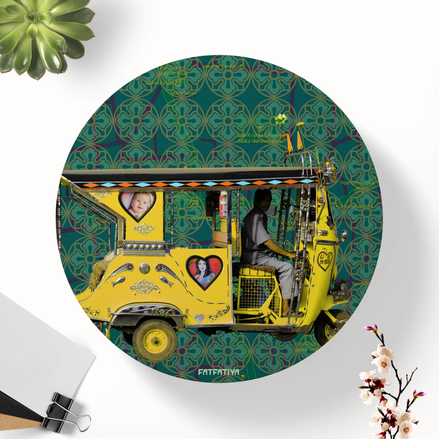 Yellow Auto Rickshaw Table Coaster Set of Six