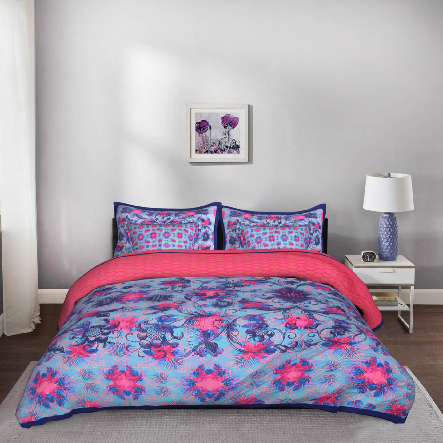 Psychedelic Abstract King Size Cotton Quilted Bedspread