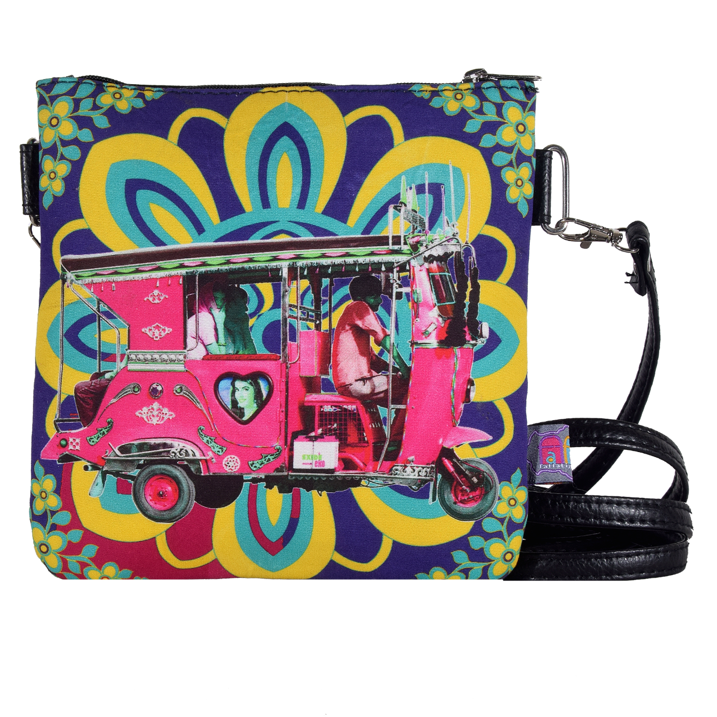 Gulabi Auto Rickshaw Canvas PU Small Sling Bag