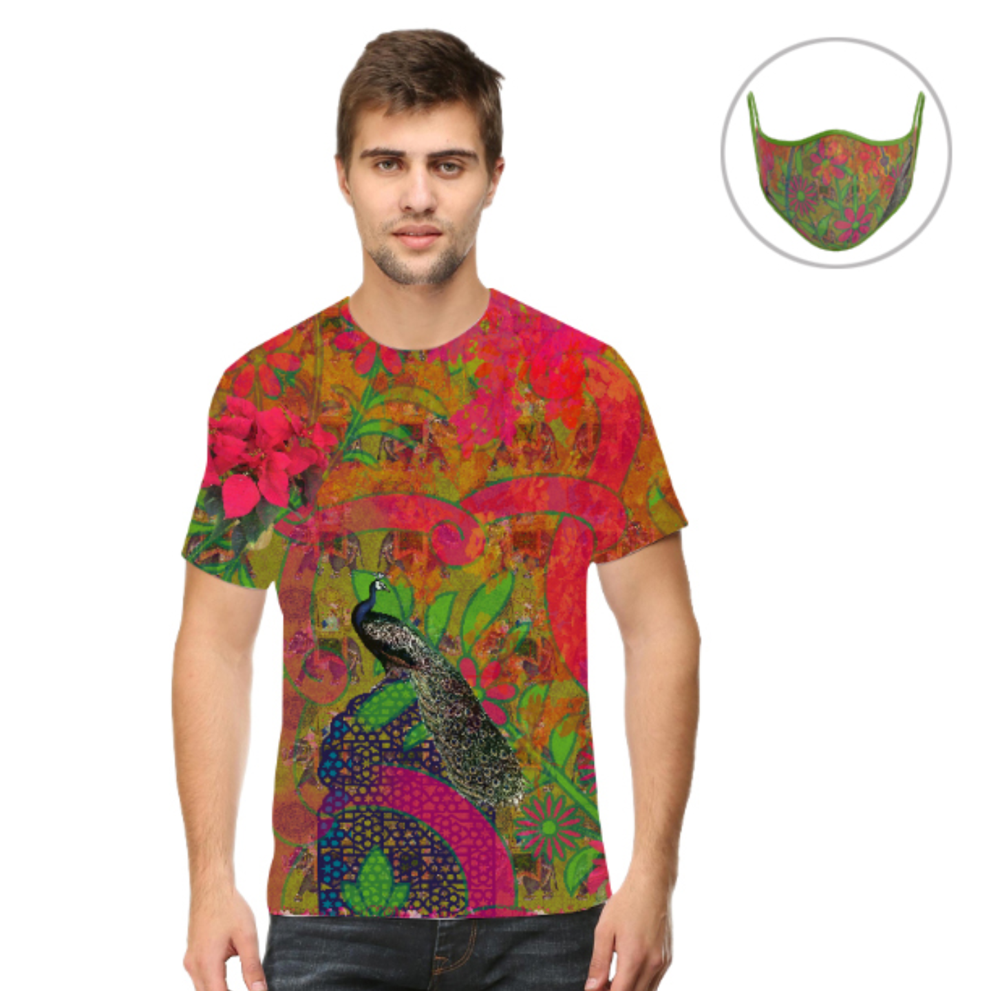 Men Peacock Theme T-Shirt Mask Combo