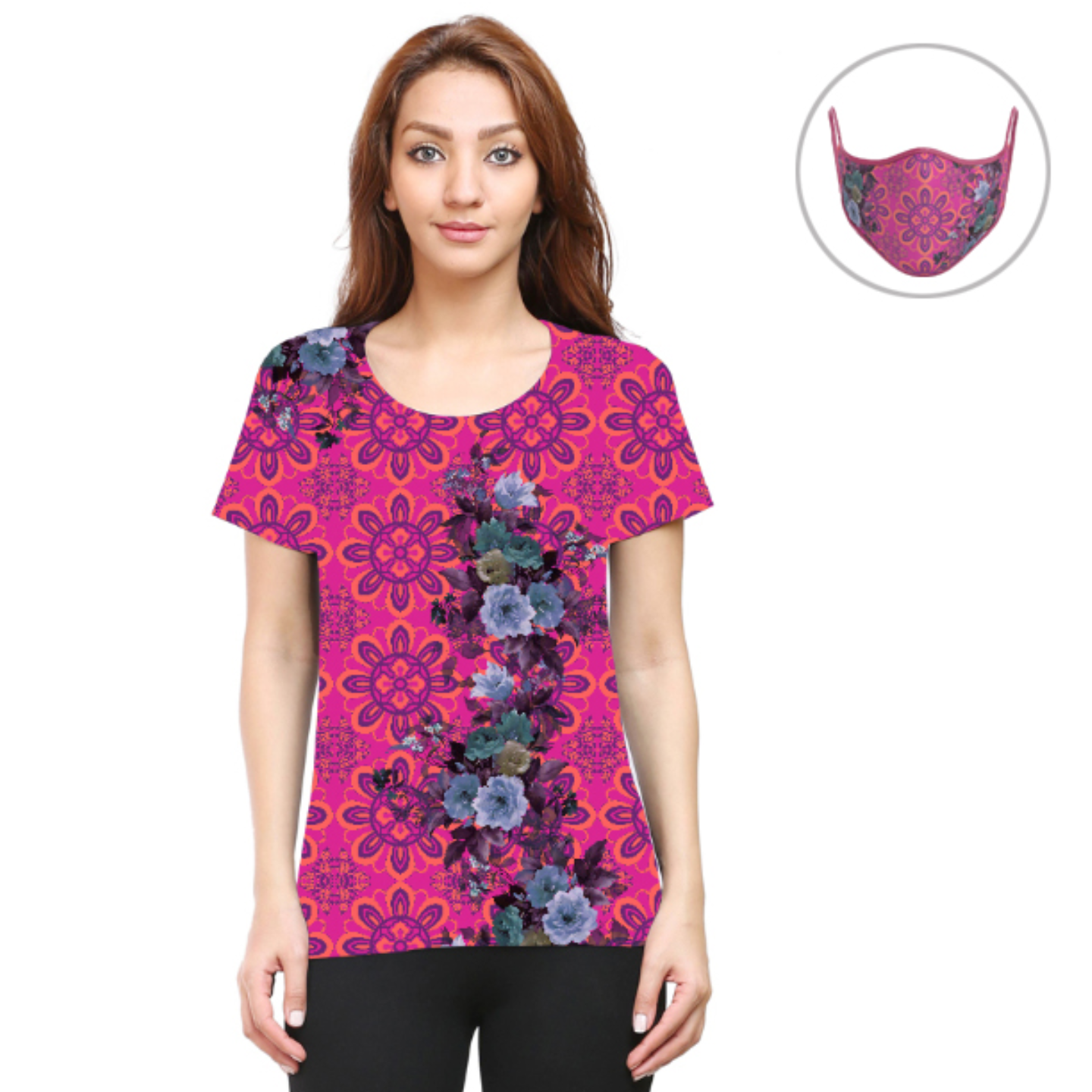 Women Pink and Blue Floral T-Shirt Mask Combo
