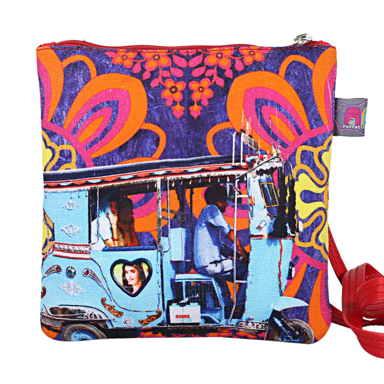 Sky Blue Taxi Designer Canvas PU Small  Sling Bag