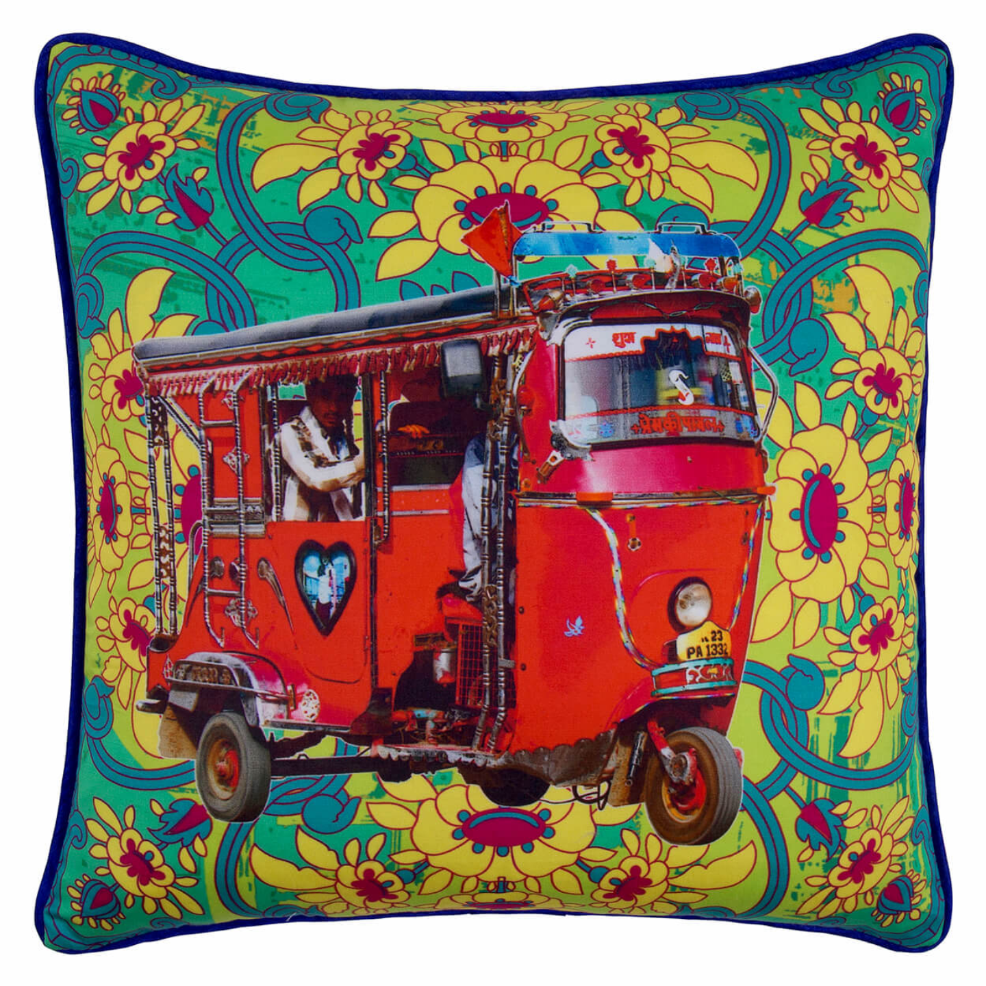 Lal Auto Rickshaw Glaze Cotton Cushion Cover 16x16 Inches