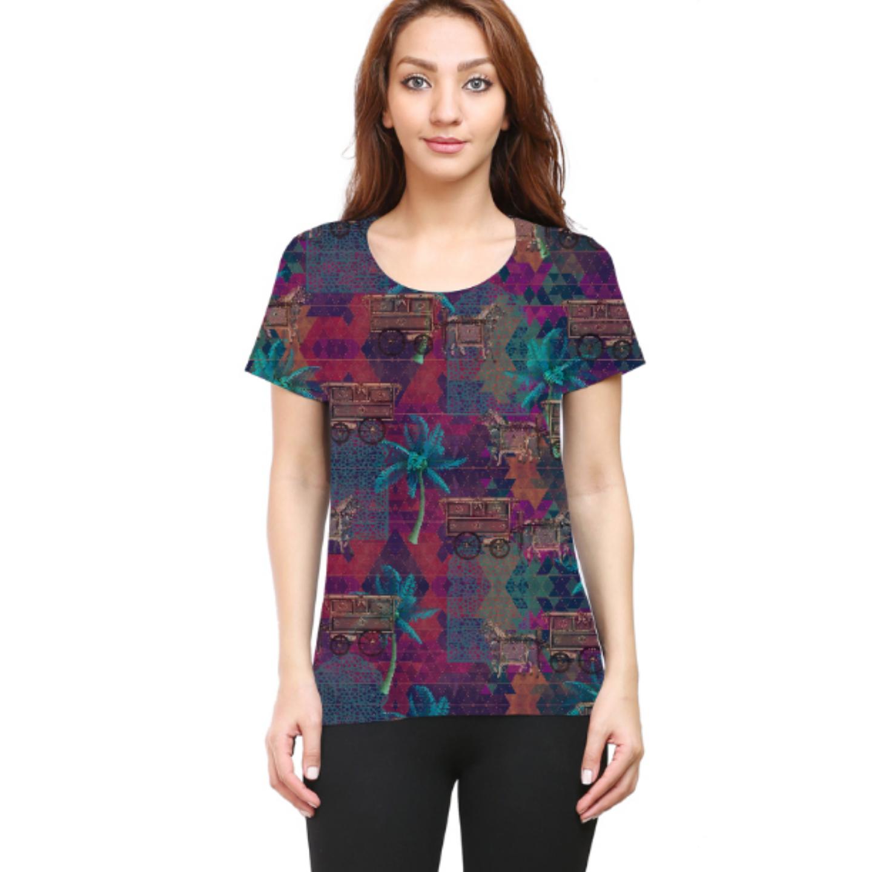 Women Multicoloured Stylish Round Neck T-Shirt