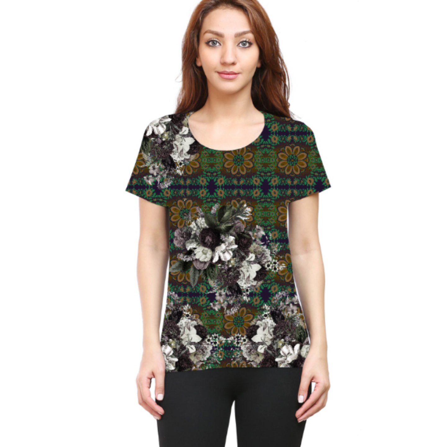 Women Abstract Flower Print Inspired Printed Round Neck T-Shirt