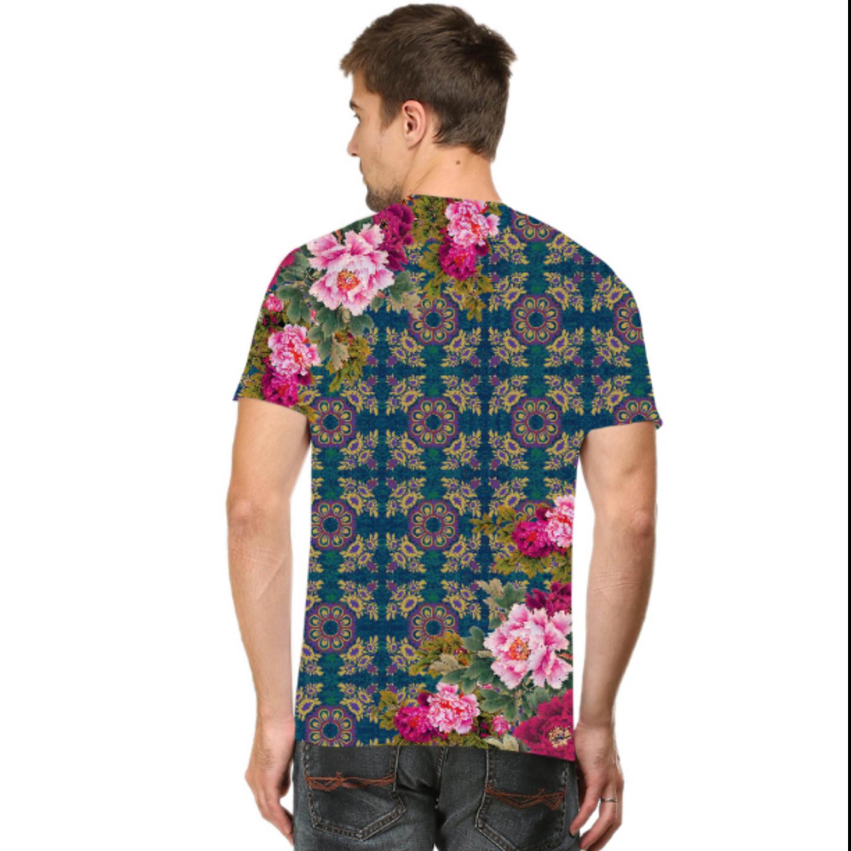 Men Geometric Design Floral T-Shirt Mask Combo