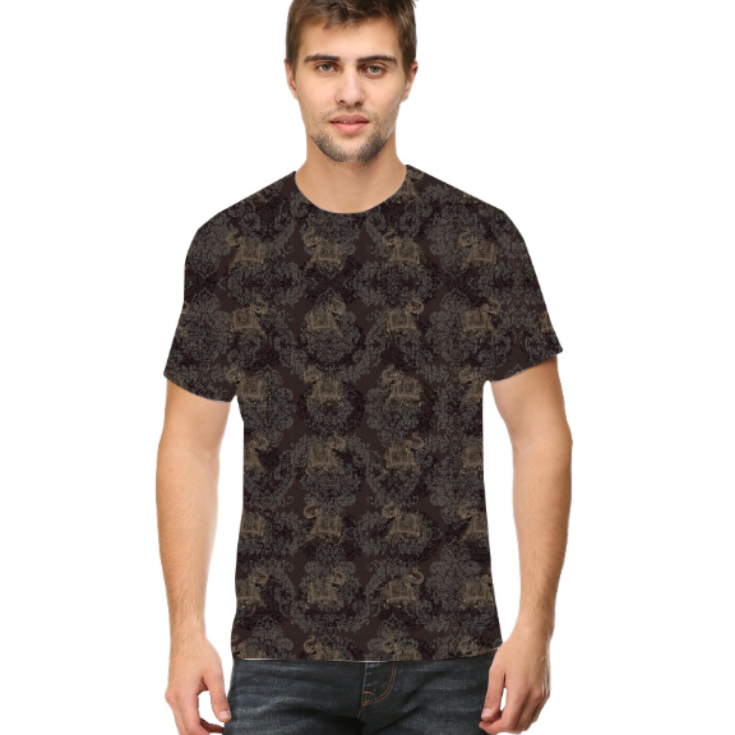 Men Grey Elephant Round Neck T-Shirt