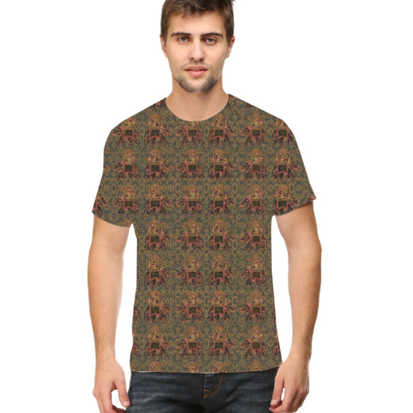 Men Brown Round Neck Multicoloured Round Neck T-Shirt
