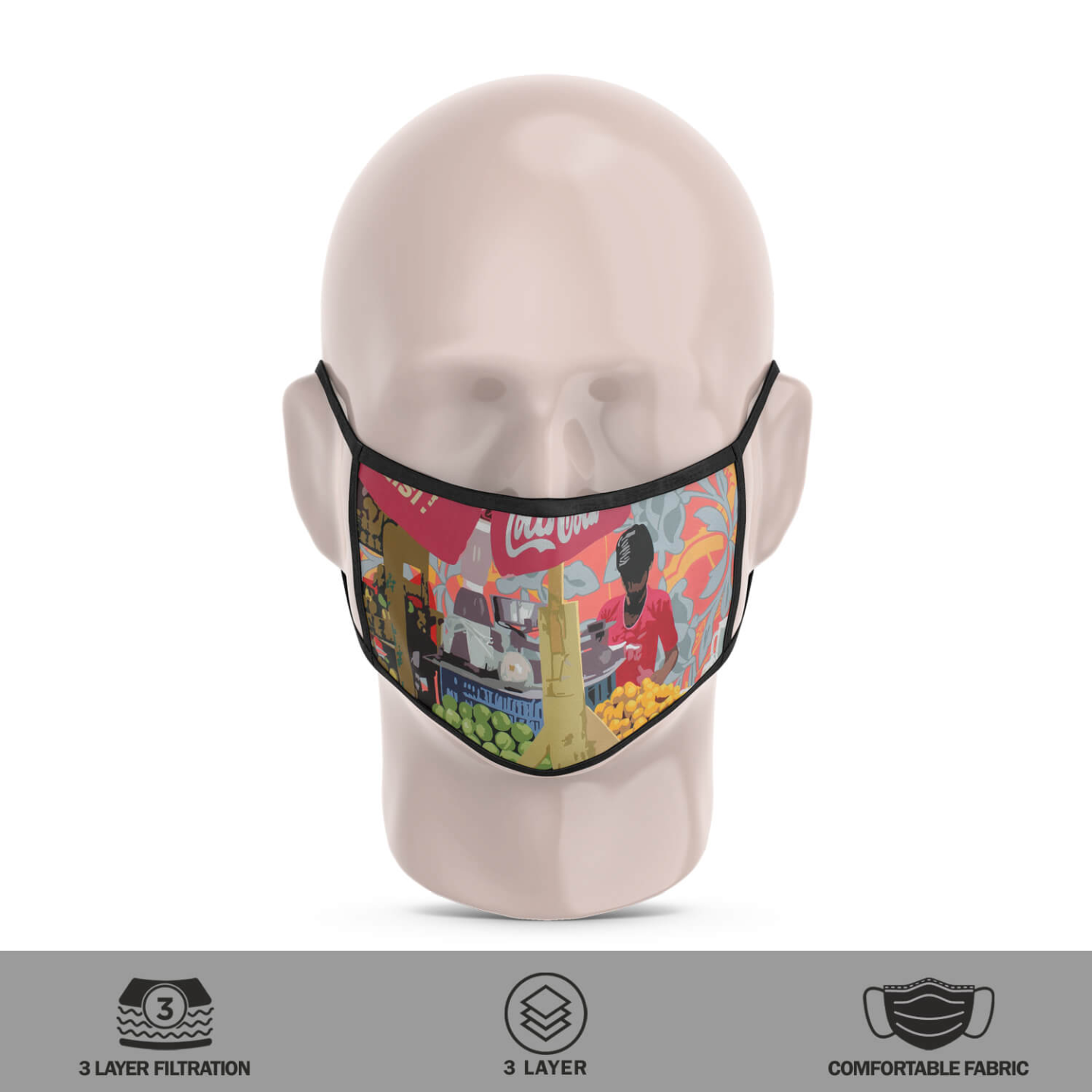 Fruit Juice Seller 3 Layer Reusable Face Mask