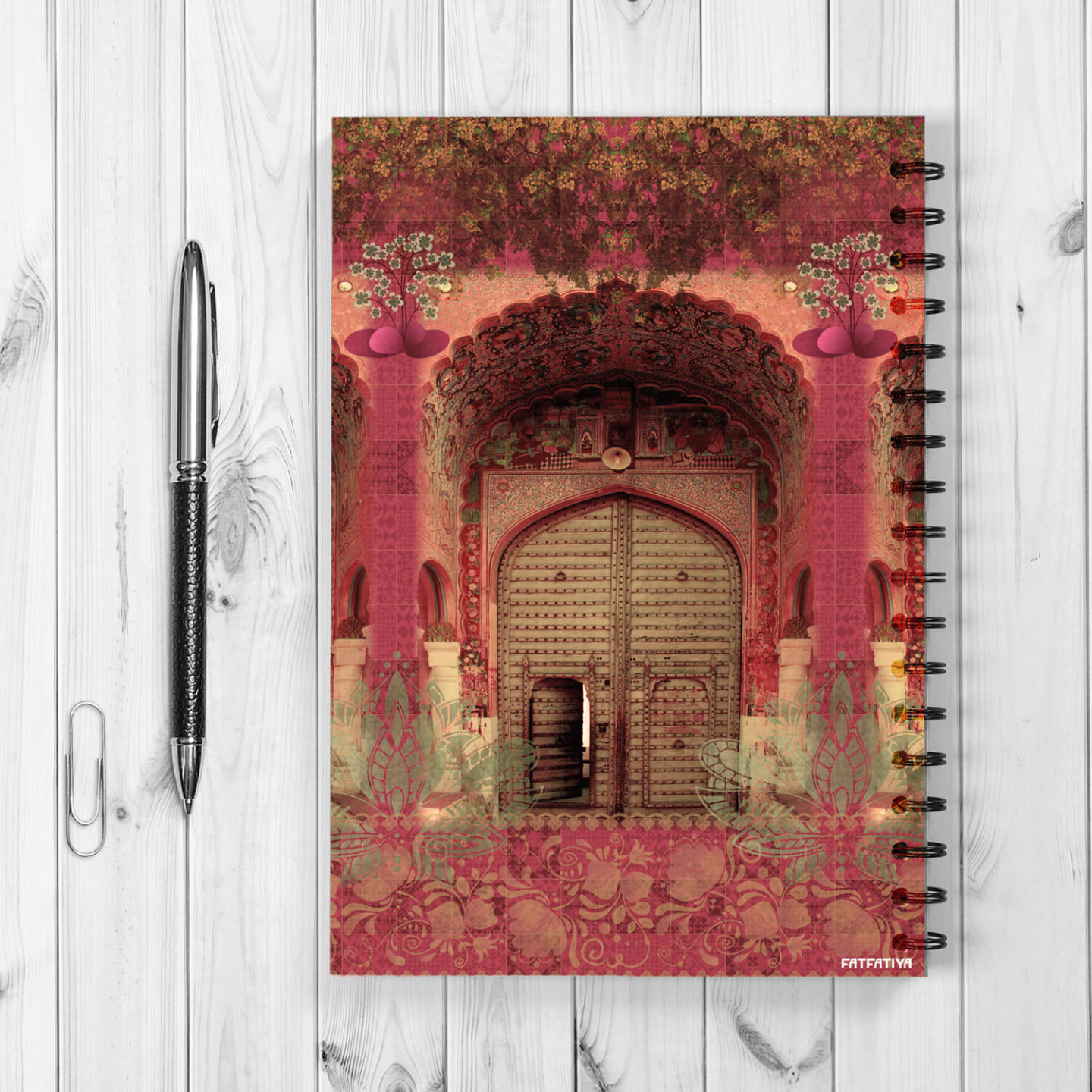Pink Royal Door Design Spiral Notebook
