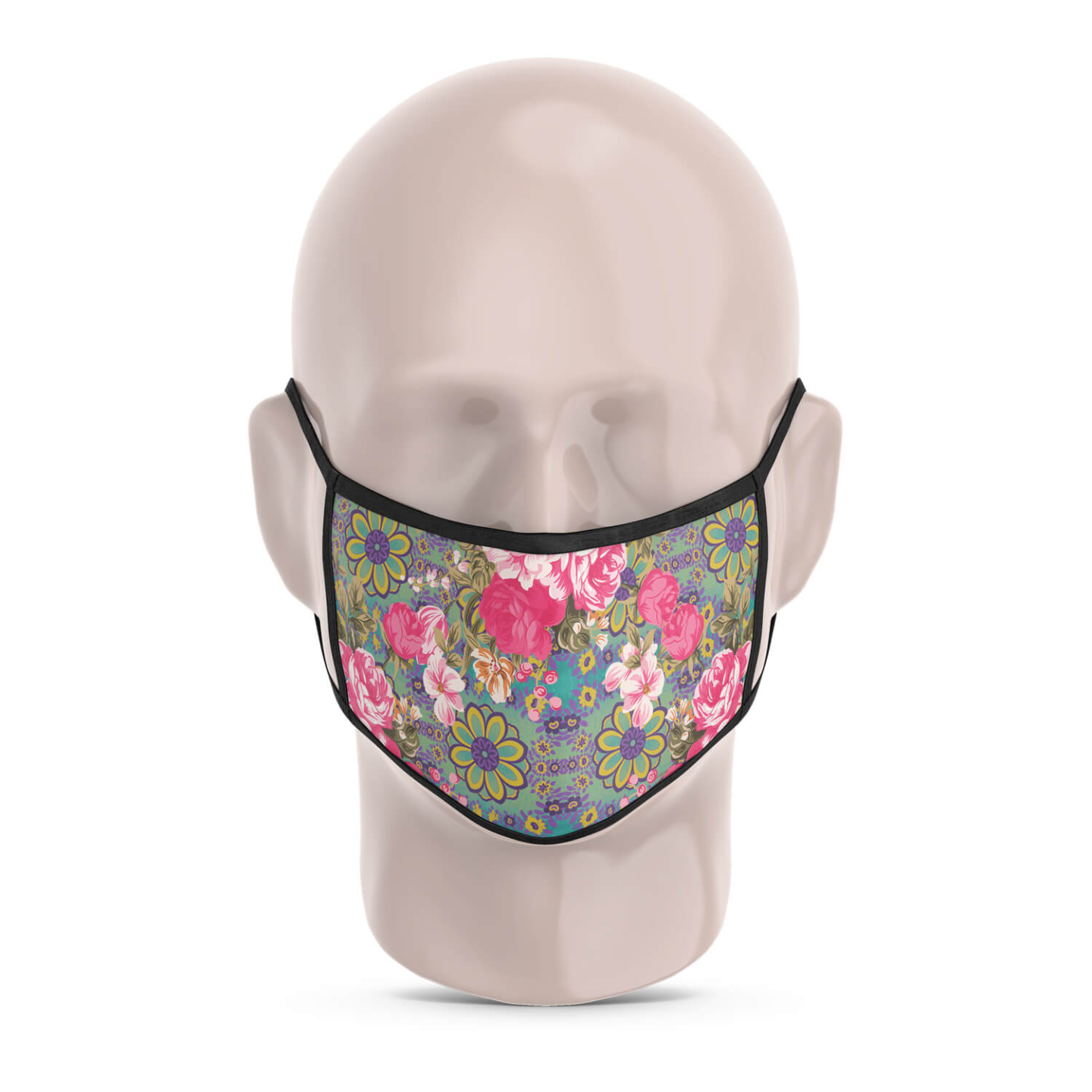 Cool Blue and Pink Flowery Reusable Printed Face Mask