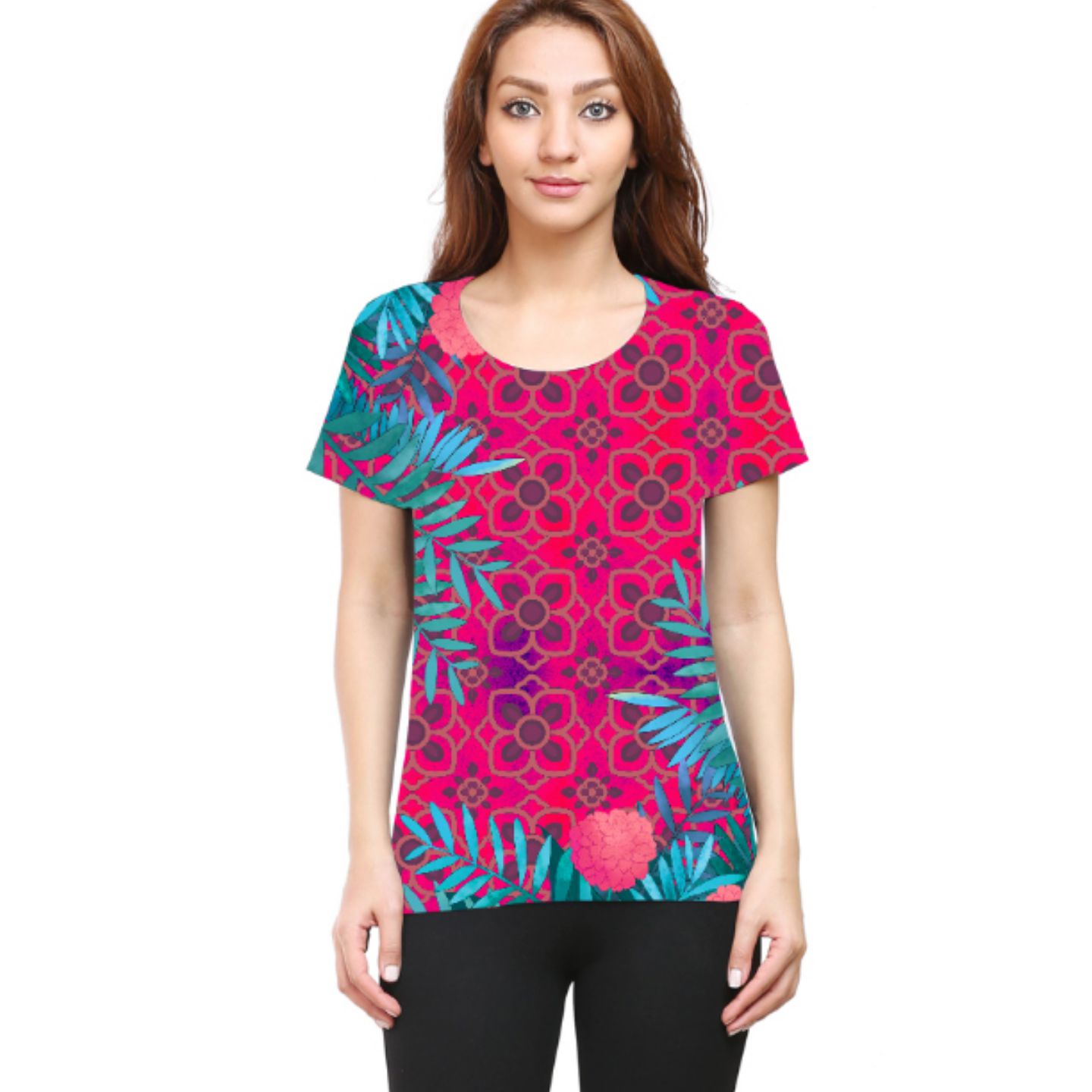 Women Pink and Blue Jungle Round Neck T-Shirt