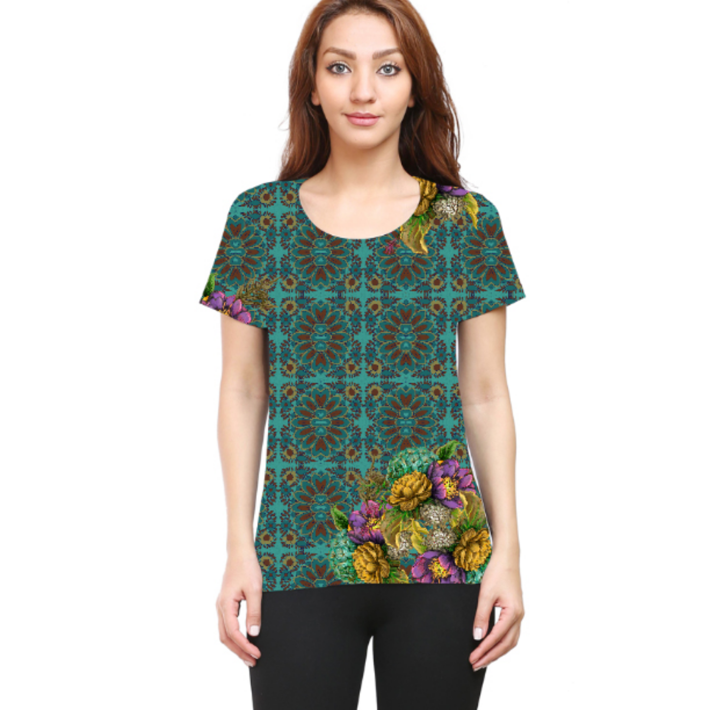 Women Geometric Design Flowery Round Neck T-Shirt