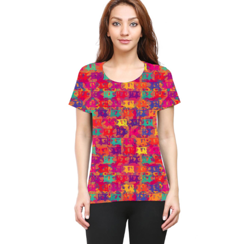Women Pop Auto Round Neck T-Shirt
