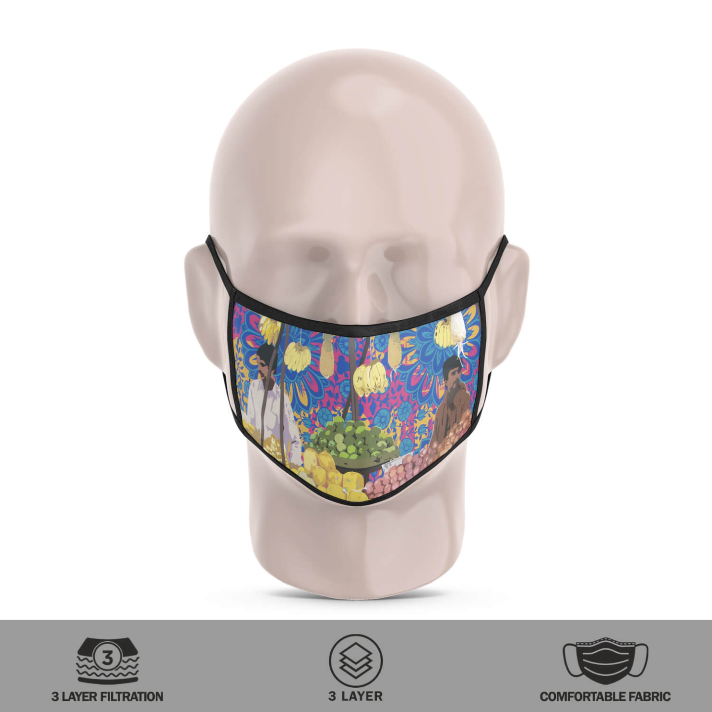 Two Fruit Sellers 3 Layer Reusable Face Mask
